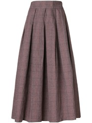 Department 5 Check Midi Skirt Pink And Purple