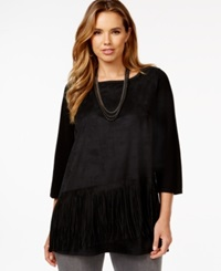 Inc International Concepts Plus Size Diagonal Fringe Moleskin Tunic Only At Macy's Deep Black
