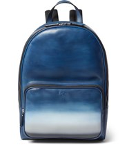 Berluti Time Off Degrade Polished Leather Backpack Blue