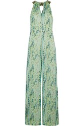 Matthew Williamson Embellished Snake Print Silk Chiffon Jumpsuit Light Green