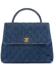 Chanel Vintage 'Kelly' Quilted Denim Tote Blue