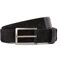 Lanvin 3Cm Patent Leather Trimmed Suede Belt Black