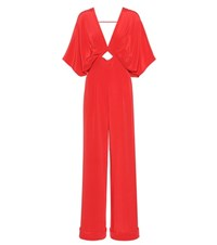 Johanna Ortiz Canna Silk Jumpsuit Red