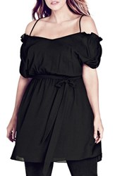 City Chic Plus Size Women's Strapped Up Tunic Black