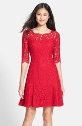 Eliza J Women's Lace Fit And Flare Dress Red