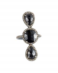 Bavna Black Spinel And Champagne Diamond Cocktail Ring Size 7