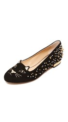 Charlotte Olympia Kitty Flats Black Gold