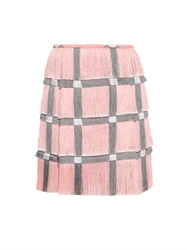 Marco De Vincenzo Checked Fringed Mini Skirt