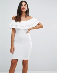 Ax Paris Off The Shoulder Bodycon Dress Cream