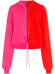 Unravel Project Lace Up Contrast Hoodie Pink