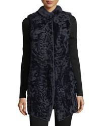 Belle Fare Long Shearling Button Front Reversible Wool Vest Black