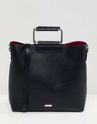 Aldo Olieni Black Minimal Tote Shopper Bag With Metal Handle Detail