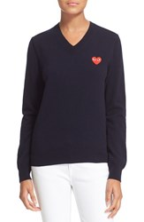 Women's Comme Des Garcons 'Play' Wool V Neck Pullover