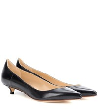 Francesco Russo Leather Kitten Heel Pumps Black