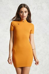 Forever 21 Ribbed Mandarin Collar Dress Mustard