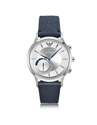 Emporio Armani Connected Stainless Steel Hybrid Men's Smartwatch W Blue Leather Strap Blossom