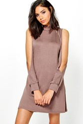 Boohoo High Neck Split Sleeve Swing Dress Mocha