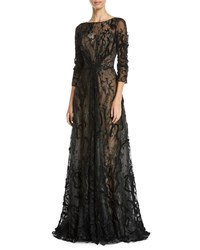 Rene Ruiz Embroidered Illusion Ball Gown Black