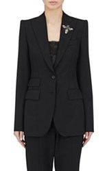 Dolce And Gabbana Women's Brooch Embellished Two Button Blazer Black