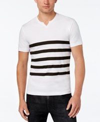 Kenneth Cole Reaction Men's Split Neck Striped T Shirt White