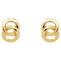Monet Double Ring Stud Earrings Gold