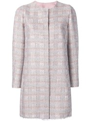 Emporio Armani Long Tweed Coat Pink