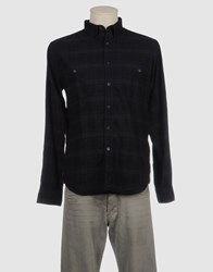 Monica Bianco Shirts Long Sleeve Shirts Men Dark Blue