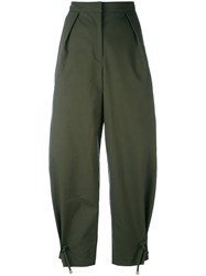 Kenzo Cropped Wide Leg Trousers Women Cotton Polyester 34 Green