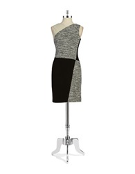 Dkny Front Panelled Knit And Ponte Sheath Dress Black