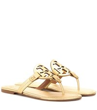 Tory Burch Miller Metallic Leather Sandals Gold