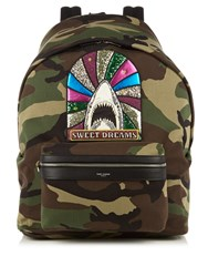 Saint Laurent Giant City Camouflage Print Cotton Backpack Green Multi