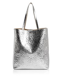 Elizabeth And James Eloise Magazine Metallic Leather Tote Silver
