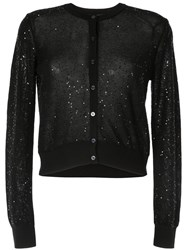 Paule Ka Embroidered Fitted Cardigan Black