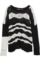 Ann Demeulemeester Striped Cotton And Cashmere Blend Sweater Black