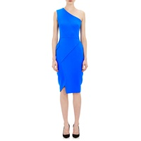 Victoria Beckham One Shoulder Fitted Dress Electric Blue