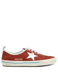 Golden Goose California Low Top Suede Trainers Red