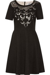 Badgley Mischka Wynne Lace Paneled Embroidered Metallic Cady Mini Dress Black