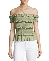 Rebecca Taylor Fleur Ruffle Trim Smocked Off The Shoulder Top Green Mutlicolor Multi
