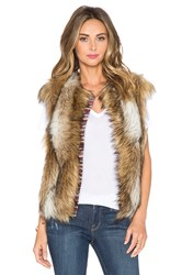 Twelfth St. By Cynthia Vincent Cap Sleeve Faux Fur Vest Brown