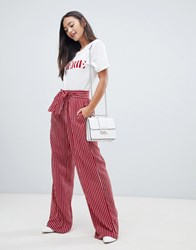 Qed London Wide Leg Stripe Trousers With Sash Belt Red