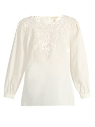 Rebecca Taylor Macrame Lace Panelled Cotton Top White