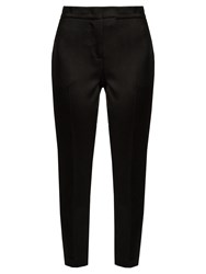 Msgm Hammered Satin Cropped Trousers Black
