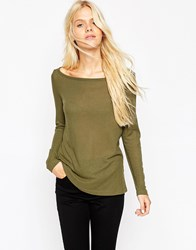 Asos Top With Off Shoulder Detail In Slouchy Fabric Khaki