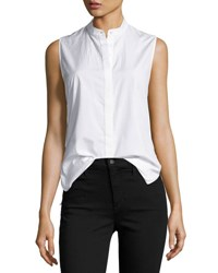 3.1 Phillip Lim Sleeveless Poplin Twist Back Top White