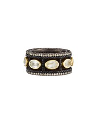 Armenta Old World Wide Band Ring With Diamonds And Sapphires