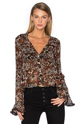 For Love And Lemons Gracie Blouse Brown