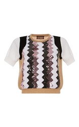 Giambattista Valli Tan Sequin Chevron Colorblock Top