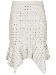 Spacenk Nk Leather Skirt With Eyelet Details White