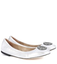 Tory Burch Liana Leather Ballerina Shoes Silver