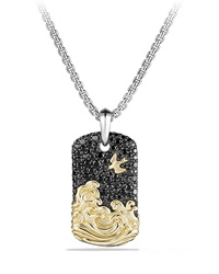 18K Gold Waves And Pave Tag Necklace Black David Yurman